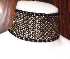 BLACK GOLD FISHNET BAND CHOKER collar cyber industrial goth mesh necklace new N2