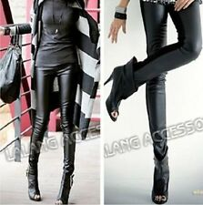 Hot New Fashion Slim Black Womens Faux Leather High Waist Boots Pants Leggings-S