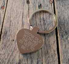 Personalised Engraved Heart Keyring - Valentines Day Gift - Grow old together