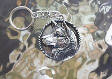 ALASKA SLED DOG ANIMAL 1 PUREBRED SIBERIAN HUSKY PEWTER KEYCHAIN ALL NEW.