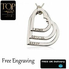 3 Heart Love Pendant Personalised Name Necklace, 18K White Gold Plated, Gift, UK