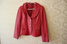 Anne Klein Vintage CHERRY RED Leather Blazer Jacket- Size XS Shawl Collar EUC