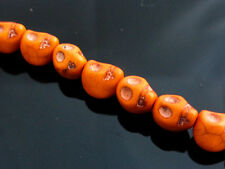 20 X 3d Turquesa sintético Calavera cuentas 10mmx8mm Naranja Halloween Calaveras Gótico