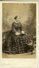 E PINOT VERSAILLES portrait femme à la lecture livre mode fashion CDV photo 1860