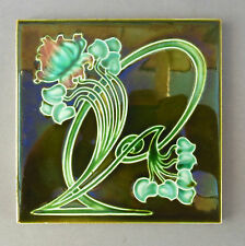 Original Art Nouveau Majolica Tile ~ Asymmetrical Floral ~ Rd 498030 Richards #2