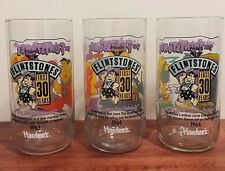 Lot of 3 Vintage Flintstones Glasses The First 30 Years Hardee's