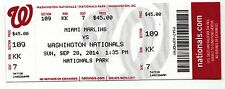 2014 WASHINGTON NATIONALS V MARLINS TICKET STUB 9/28 JORDAN ZIMMERMANN NO HITTER