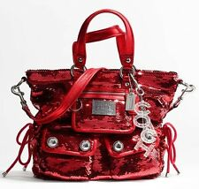 Coach Red Spotlight Sequin Handbag Leather Handles Satchel Purse Keychain #13821