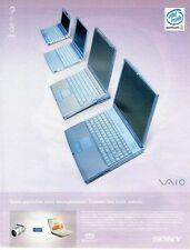 PUBLICITE ADVERTISING 126  1999  Sony   pc  portable  F300 Intel Inside Pentium