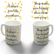 SISTERS LIKE SUNSHINE COFFEE MUG TEA CUP PERSONALISED BIRTHDAY CHRISTMAS GIFT