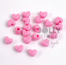 100 Light Pink Heart shaped Pony Beads for hair kids school crafts jewelry more!