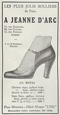 PUBLICITE CHAUSSURES UNIC mod. ROYAL  MODE FASHION  SHOES  AD  1926 -1H