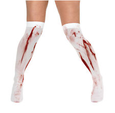 Zombie Bloody White Hold Up Stockings With Blood Stain Halloween Fancy Dress New
