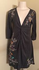 JOHNNY WAS Womens Grey Twist Knot Front Floral Butterfly Embroidered Dress Small