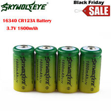 4PCS 16340 3.6V 3.7V CR123A 1800mAh Rechargeable Battery For LED Flashlight