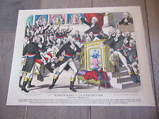 lithographie AQUARELLEE 1850 robespierre a la convention