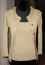 NWT ST. JOHN Gold Metallic Cardigan Sweater +Tank Top Twin Set Sz P Ret $740.00!