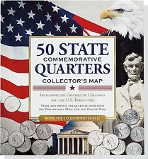 Hardcover 50 State Commemorative Quarters Collector's Map includes both Mints
