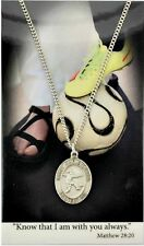 """Pewter Girls Soccer St. Christopher Protection Medal on 18"""" Chain"""