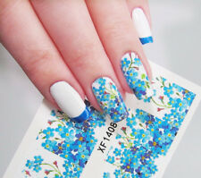 Full Nail Water Decals Transfer Sticker Romantic Blue Flower XF1408