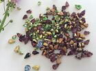 Vintage Brass set Pearshape Rhinestones mixed size colour CRAFT Peridot Amethyst