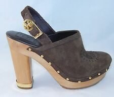 NEW TORY BURCH Slip On Brown Suede Leather Wedge Shoes Ankle Strap Size 8 M