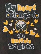Hockey NHL Buffalo Sabres shirt girls youth hearts sparkles nwt Medium M 10 12