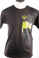 Adidas Originals Maze Black Graphic Yellow Print Trefoil Men's Cotton T-Shirt S
