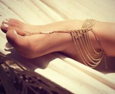 1pc Gold Alloy Link Chain Barefoot Sandal Wedding Anklet Toe Jewelry