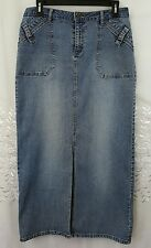 Womens Cato blue Denim Modest Skirt Long with Slit embroidered pockets Sz 8