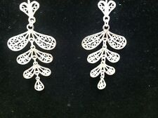 Sterling Silver Dangle Drop Heart - Leaf Pierced Earring