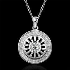 "Sterling Silver Zircon Round Car Wheel Men Women Pendant Necklace 18"" NY692"