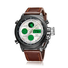 OHSEN White Face Analog Digital Dual Time Brown Genuine Leather Band Wrist Watch