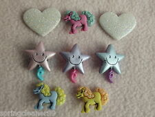 DRESS IT UP BUTTONS~ PONY TALES ~ 3 PONIES ~ 3 SMILING STARS ~ 2 GLITTER HEARTS