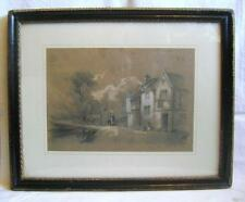 """Original """"Norwich School"""" signed Drawing: Rustic Scene House with Cows on Bridge"""