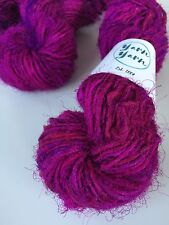 Sari silk yarn, handspun yarn, recycled yarn, knitting, magenta plum. 5 yards.