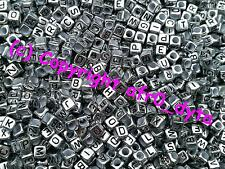 100 Alphabet Mixed Letters or Numbers Cube Beads 6mm BUY 3 FOR 2