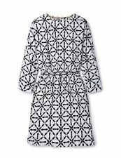 GORGEOUS BODEN WHITE & NAVY BLUE FISH DESIGN TEA DRESS 18 NEW