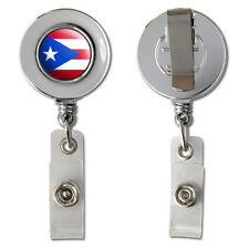 Puerto Rico Puerto Rican Flag Retractable Reel Chrome Badge ID Card Holder