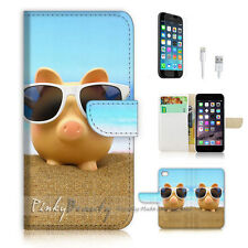 iPhone 7 (4.7') Flip Wallet Case Cover P1888 Beach Pig