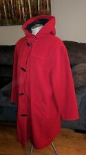 LL BEAN RED WOOL DUFFLE STADIUM TOGGLE HOODED COAT 10 LADIES WINTER LONG