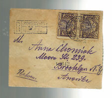1923 Podwuloczyska Poland Registered cover to USA