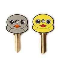 Kikkerland ANIMAL DUCK Shaped Key Caps Set 2 House key covers KR82 GRAY+YELLOW