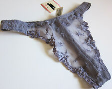 NWT VTG Victoria's Secret Mesh Embroidered Thong Panties SZ S Small - MARKED