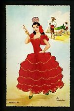 Embroidered clothing postcard Artist Elsi Gumier Spain Malaga woman fish #43