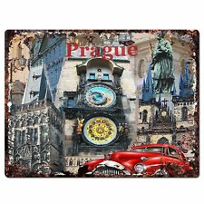 PP0787 Prague Classic Car Chic Plate Sign Home Shop Restaurant Cafe Decor