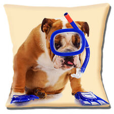 "ENGLISH BULLDOG ADULT WEARING SNORKEL AND FLIPPERS  16"" Pillow Cushion Cover"