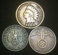 1890-1890 Indian Head Cent and Nazi Coins SWASTIKA WW2 3rd Reich German US Lot