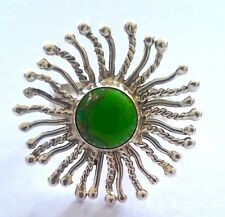 Beautiful 925 Silver Natural Green Copper Turquoise Ring. Size 9.