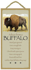 """ADVICE FROM A BUFFALO Inspirational Primitive Wood Hanging Sign 5"""" x 10"""""""